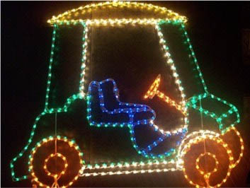 Lighted Santa Golfcart on