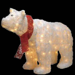 polar bear christmas decorations lighted polar bear - Pre Lit Polar Bear Christmas Decoration Set Of 3