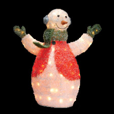 Lighted Snowman with Ear Muffs
