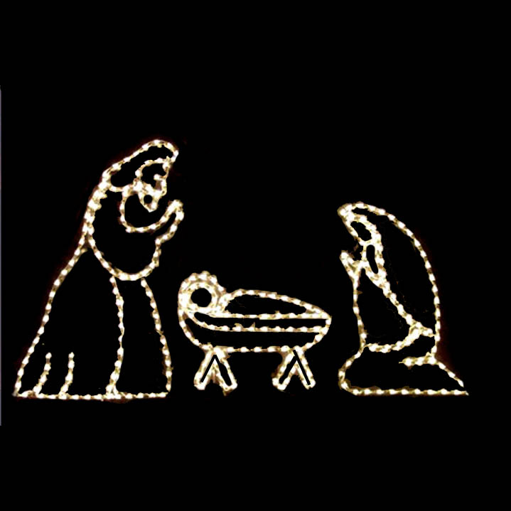 Outdoor LED Clear Nativity Set
