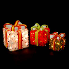 3 Lighted Christmas Gift Boxes