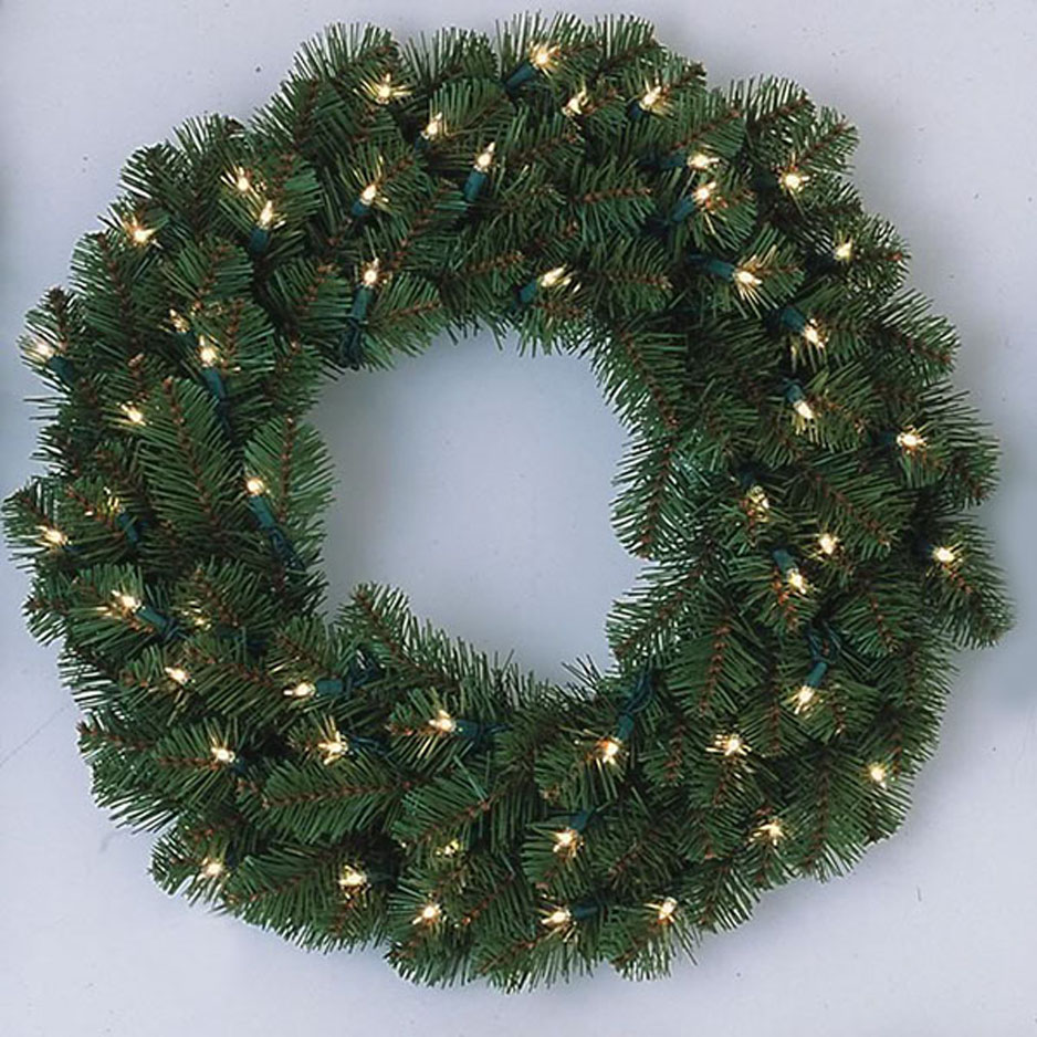 INdoor/Outdoor LED Pre-Lit Pine Wreath : light up wreaths outdoors - www.canuckmediamonitor.org