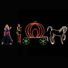 Lighted Prince, Princess, Pumpkin Carriage, Horse, Display