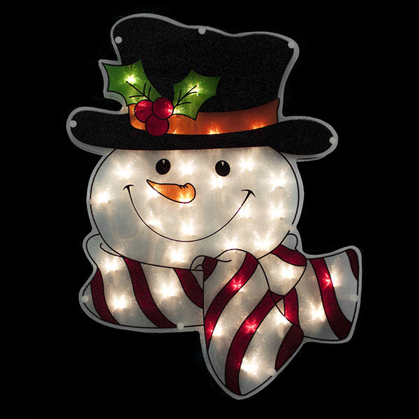 lighted window snowman - Christmas Light Up Window Decorations