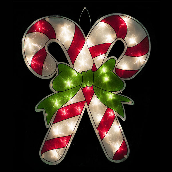 lighted window candy cane