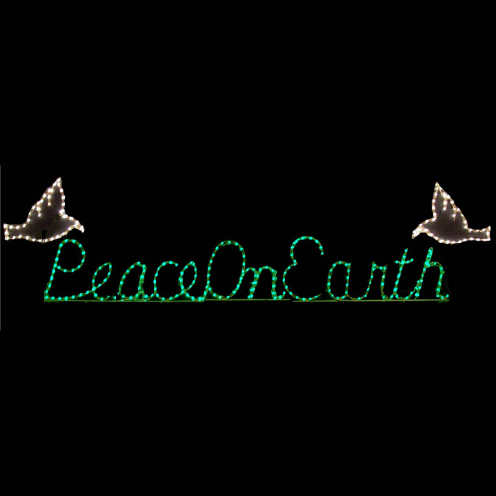 christmas lighted peace on earth sign