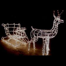 Outdoor 3D Deer and Sleigh Christmas Display