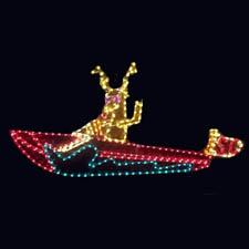 Santa Reindeer Driving a Boat