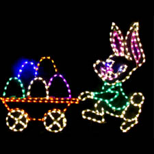 Outdoor LED Easter Bunny pushing Eggs in Cart