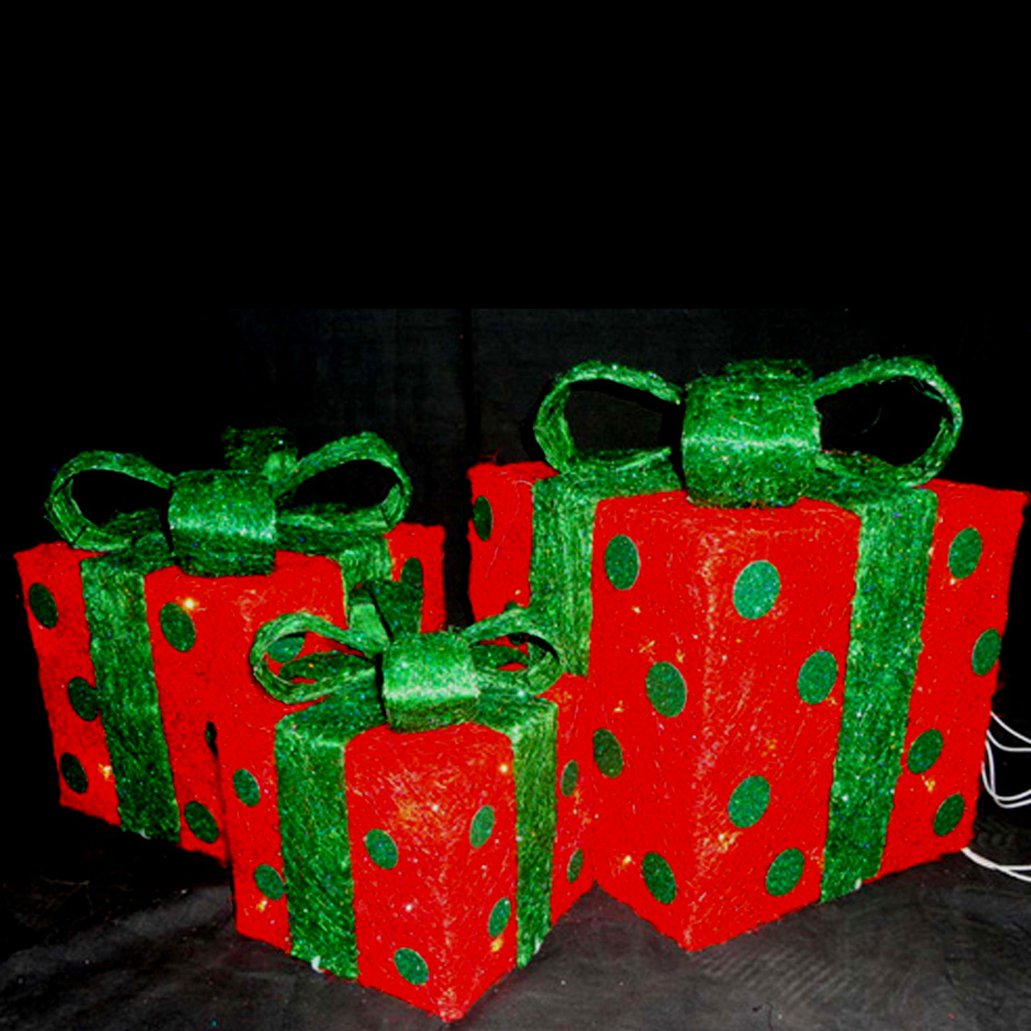 Lighted Red Gift Boxes with Pokodots
