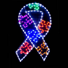 Outdoor LED Autism Ribbon