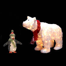 outdoor christmas polar bear and penguin - Pre Lit Polar Bear Christmas Decoration Set Of 3