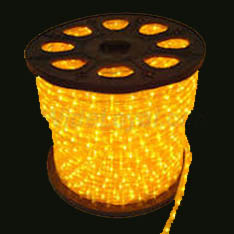 Spool of LED Yellow Rope Light