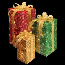 3 Lighted Multi Color Gift Boxes