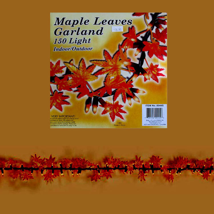 Lighted Fall Garland maple leaves