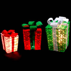 Green Red White Lighted Christmas Gift Boxes