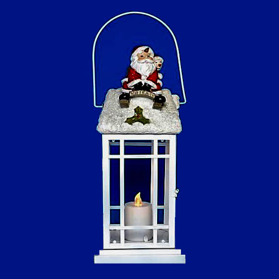 Battery Operated Meta Santa Christmas Lantern