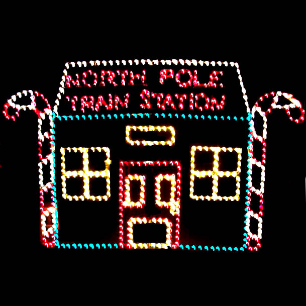 Outdoor Lighted North PoleTrain Station