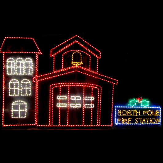 Christmas North Pole Fire Station Display