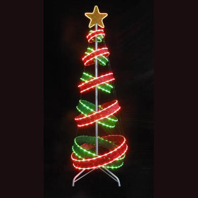 6' Spiral Christmas Tree Red and Green