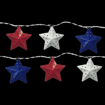 July 4th Lighted Red White Blue Star Lights